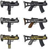 Cartoon submachine guns vector weapon icons. Cartoon submachine guns isolated on white background. Vector weapons firearms icons Royalty Free Stock Photography
