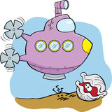 Cartoon Submarine and Clam Royalty Free Stock Image