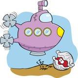 Cartoon Submarine and Clam Royalty Free Stock Image