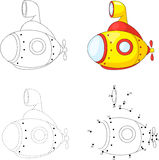 Cartoon submarine. Dot to dot game for kids Royalty Free Stock Photography