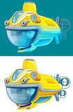 Cartoon submarine -  - illustration for the children Stock Photos