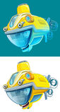 Cartoon submarine - isolated Royalty Free Stock Photo
