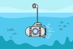 Cartoon Submarine with the periscope and the window.Vector. Illustration royalty free illustration