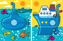 Cartoon submarine and ship. The illustration cartoon  presents  submarine and a ship at sea, the fish swim around them Royalty Free Stock Photography