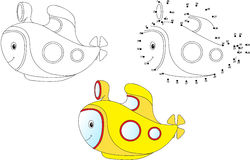 Cartoon submarine. Vector illustration. Coloring and dot to dot Stock Image