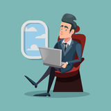 Cartoon Successful Businessman Flying in Airplane and Working with Laptop Royalty Free Stock Image