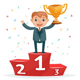 Cartoon successful smiling business man with golden award on winners podium Stock Image