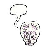 Cartoon sugar skull with speech bubble Stock Photo