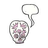 Cartoon sugar skull with speech bubble Royalty Free Stock Photos