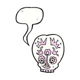 Cartoon sugar skull with speech bubble Stock Photography