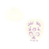 Cartoon sugar skull with thought bubble Stock Photos