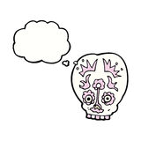 Cartoon sugar skull with thought bubble Stock Image