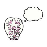 Cartoon sugar skull with thought bubble Royalty Free Stock Photography