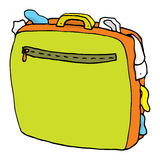 Cartoon suitcase full / Overweight luggage Stock Images