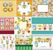 Cartoon summer animal card Stock Photos