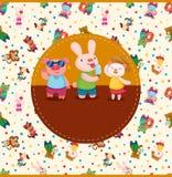 Cartoon summer animal card Royalty Free Stock Images