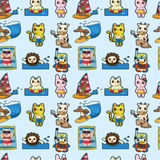 Cartoon summer animal seamless pattern Stock Photography