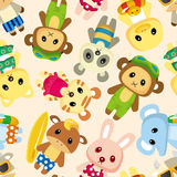 Cartoon summer animal seamless pattern Royalty Free Stock Image