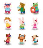 Cartoon summer animal set Royalty Free Stock Images