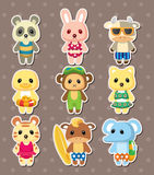 Cartoon summer animal stickers Royalty Free Stock Images