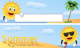 Cartoon Summer Banners [1]. Two horizontal cartoon banners with the sun, a palm tree on a beach, empty space for a message and the word summer. Eps file vector illustration