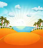 Cartoon Summer Beach Landscape Royalty Free Stock Image