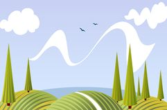 Cartoon summer fields and meadows landscape. With  sky, lake, clouds, conical trees, birds and hills Stock Image
