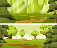 Cartoon summer forest Stock Images