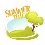 Cartoon Summer Landscape Background. Summer tree. Vector illustration. EPS10 Royalty Free Stock Images