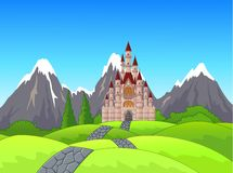 Cartoon Summer landscape with green grass, road and castle Stock Image