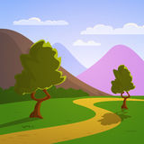 Cartoon Summer Landscape. Mountain landscape with trees on a meadow, cartoon vector illustration Royalty Free Stock Image