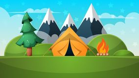 Cartoon summer landscape. Tent, fire, mountain illustration. Cartoon summer landscape. Tent, fire, mountain illustration Vector eps 10 Stock Image