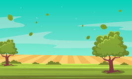 Cartoon Summer Landscape. Summer cartoon landscape with trees, vector illustration Royalty Free Stock Images