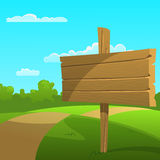 Cartoon Summer Landscape. The wooden board on a green meadow Royalty Free Stock Photo