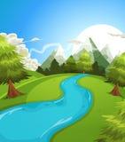 Cartoon Summer Mountains Landscape Royalty Free Stock Image