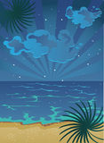 Cartoon summer nocturnal beach with clouds on sky stock image