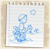 Cartoon summer on paper note, vector illustration Royalty Free Stock Images