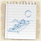 Cartoon summer on paper note, vector illustration Stock Photos