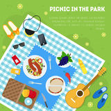 Cartoon Summer Picnic in Park Basket Card Background. Vector Royalty Free Stock Images