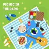 Cartoon Summer Picnic in Park Basket Card Poster. Vector Stock Photography