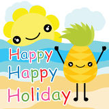 Cartoon, summer postcard, wallpaper, and greeting card, T-shirt design for kids Stock Photo