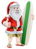 Cartoon Summer Santa. Cartoon of Santa Claus holding a surf board and giving a thumbs up in his Hawaiian board shorts and flip flop sandals Royalty Free Stock Photo
