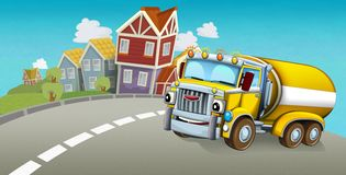 Cartoon summer scene with cleaning cistern car driving through the city. Illustration for children vector illustration