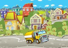 Cartoon summer scene with cleaning cistern car driving through the city. Illustration for children royalty free illustration