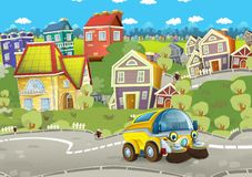 Cartoon summer scene with cleaning cistern car driving through the city. Illustration for children stock illustration