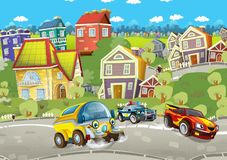 Cartoon summer scene with cleaning cistern car driving through the city and police chase with sports car driving near. Illustration for children royalty free illustration