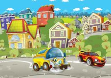 Cartoon summer scene with cleaning cistern car driving through the city and sports car driving near. Illustration for children vector illustration