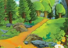 Cartoon summer scene with meadow valley - nobody on scene - illustration for children
