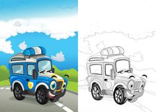 Cartoon scene with happy off road car on the road with coloring page. Cartoon summer scene with path in the forest - nobody on scene - illustration for children royalty free illustration