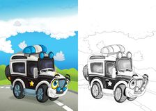Cartoon scene with happy off road car on the road with coloring page. Cartoon summer scene with path in the forest - nobody on scene - illustration for children stock illustration